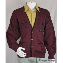 Vintage Burgandy Mens Cardigan