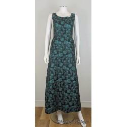 Green Brocade Evening Dress