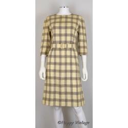 Cream/grey check long sleeve shift dress