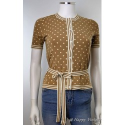 1940's Style Brown and White Spot Cardigan