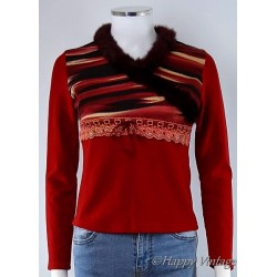 Vintage Style Ladies Fur Collar Jumper