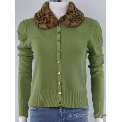 Vintage Style Green Fur Trim Cardigan