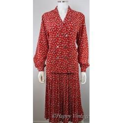 Vintage Jaegar Ladies Red Flower Skirt Suit
