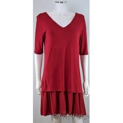 Retro Style Red Pleat Evening Dress