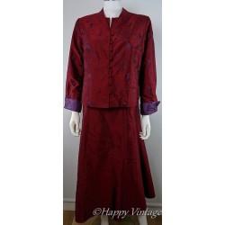 Burgundy Ladies Matching Evening Dress  Jacket and Hand bag