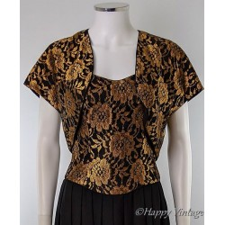 Gold and Black Evening Dress with Bolero Jacket
