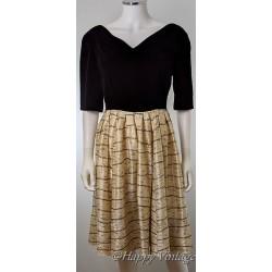 Vintage Black Velvet Top Evening Dress