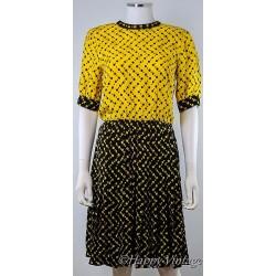 Vintage Rafferelle Curiel Yellow Black Spot Dress