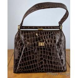 1950s Brown Crocodile Effect Handbag