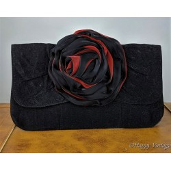 Petty Black and Red Flower Clutch Bag