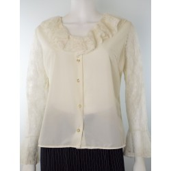 1980s Romantic Frilly White Blouse