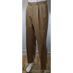 1980  Beige Front Pleated  Trousers