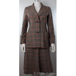 Vintage Black and red Check Suit