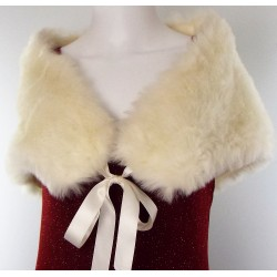 Cream Fur Stole with Ribbon Ties