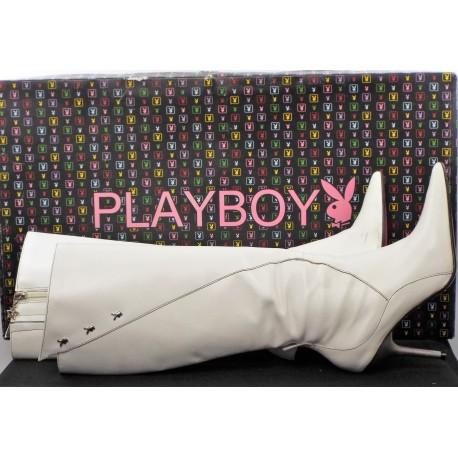 Playboy White Leather Stiletto  Boots