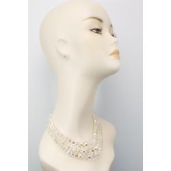 Three Tier Glass Beads Silver Diamante Clasp