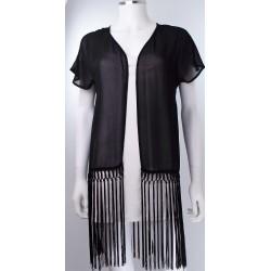 Retro 1920's Frill Chiffon Black Jacket