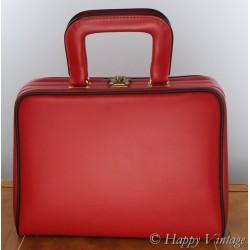 1950 Red & Black vinyl Vanity case/ weekend bag