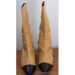 Vintage L.K. Bennett Black and Tan Calf Boots