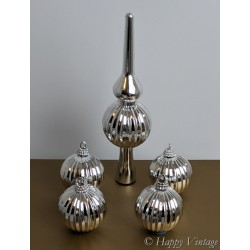 Vintage Silver Baubles and Tree Top Decoration Set