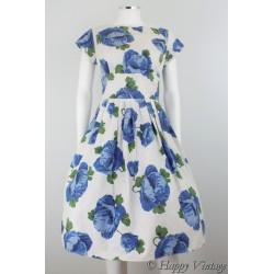 Vintage 50's Vintage Blue Flower Dress Size 10