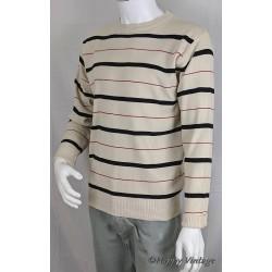1980's White Stripe Jumper