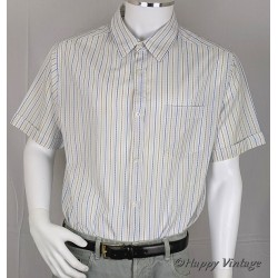 Mens White Short Sleeve Stripe Shirt