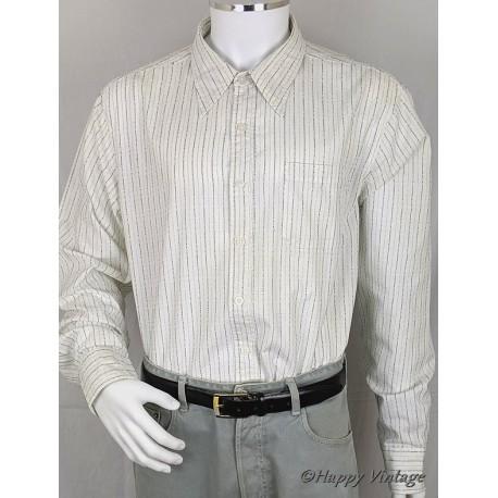 Men's White Blue Stripe Pointed Collar Shirt